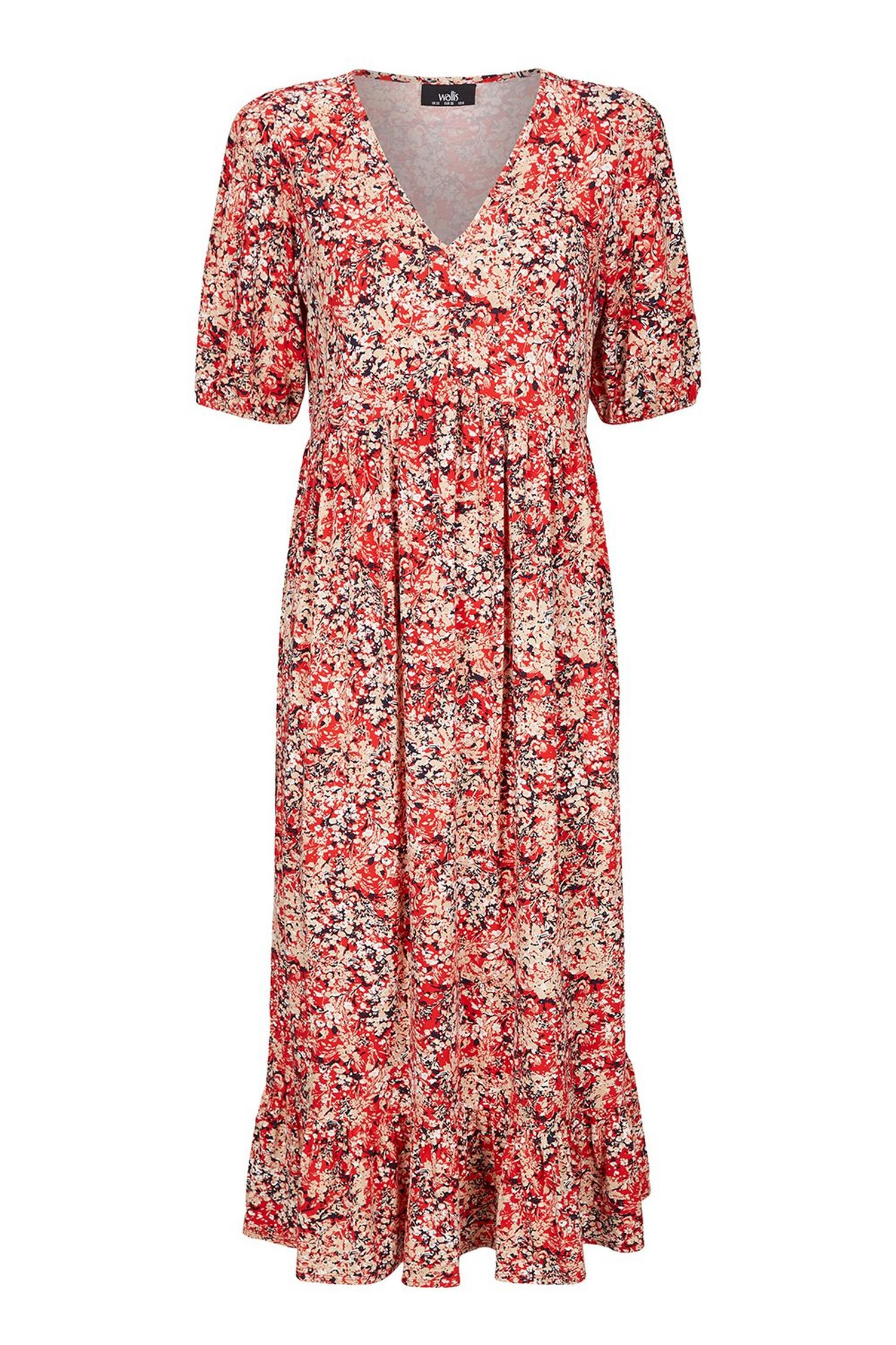 157 TALL Red Floral Print Midi Dress image number 2