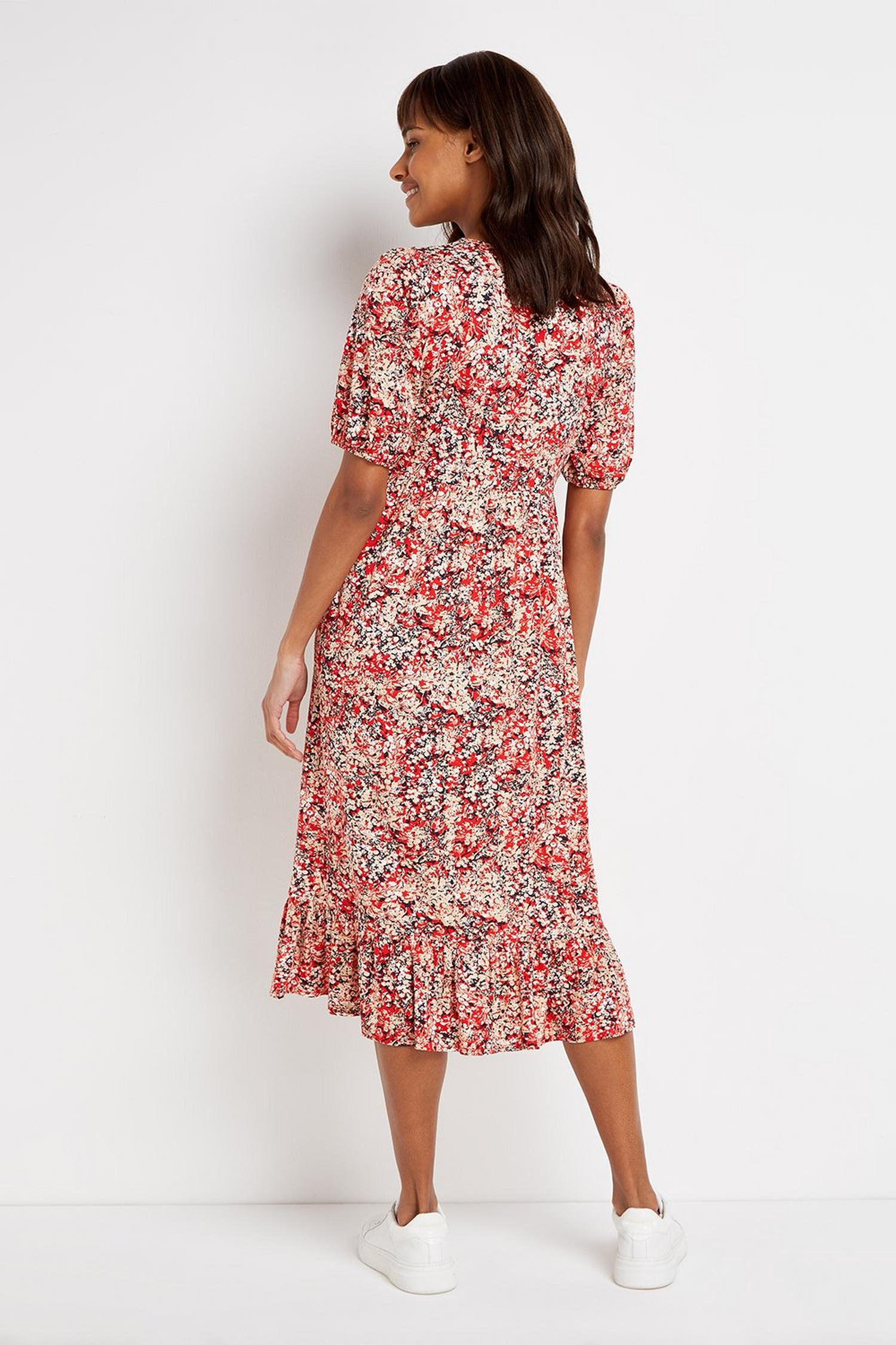 157 TALL Red Floral Print Midi Dress image number 3