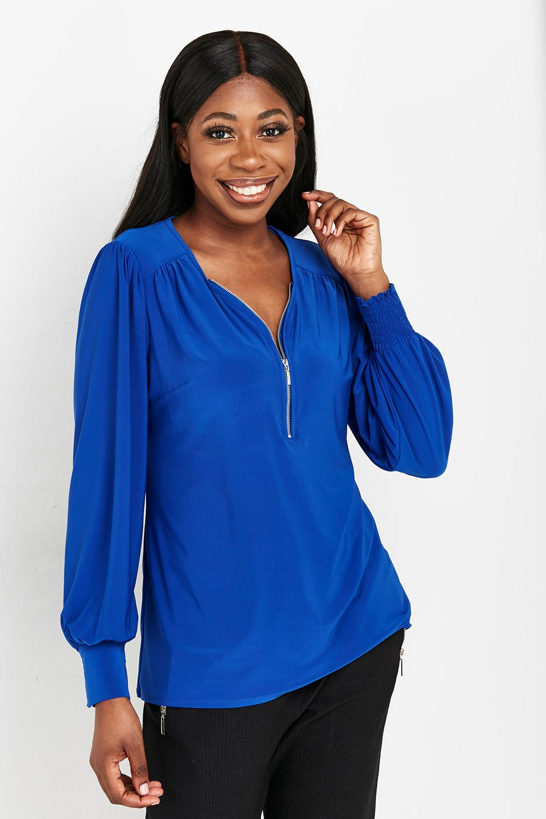 Cobalt Blue Zip Front Jersey Top
