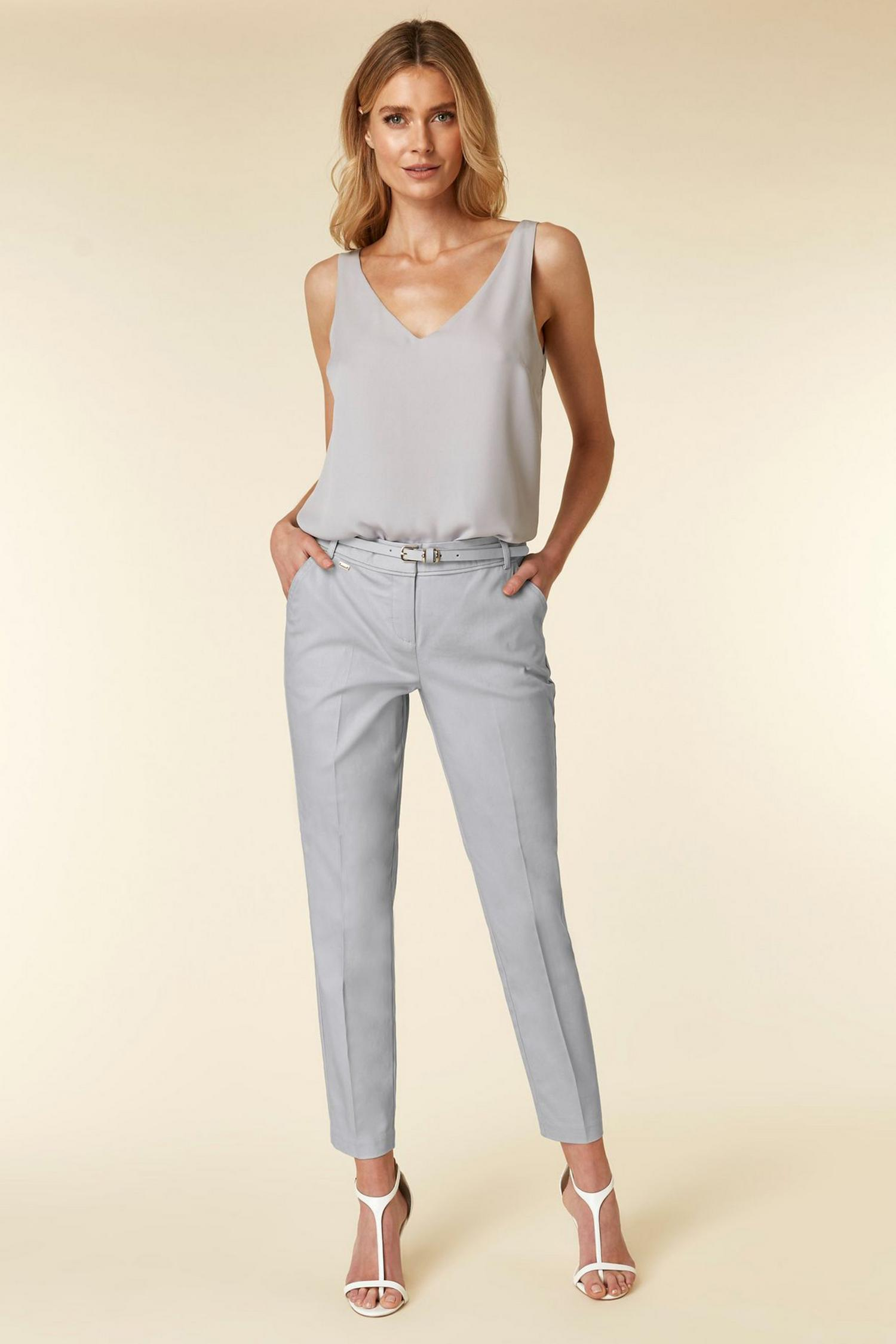 131 Grey Belted Cigarette Trousers image number 1