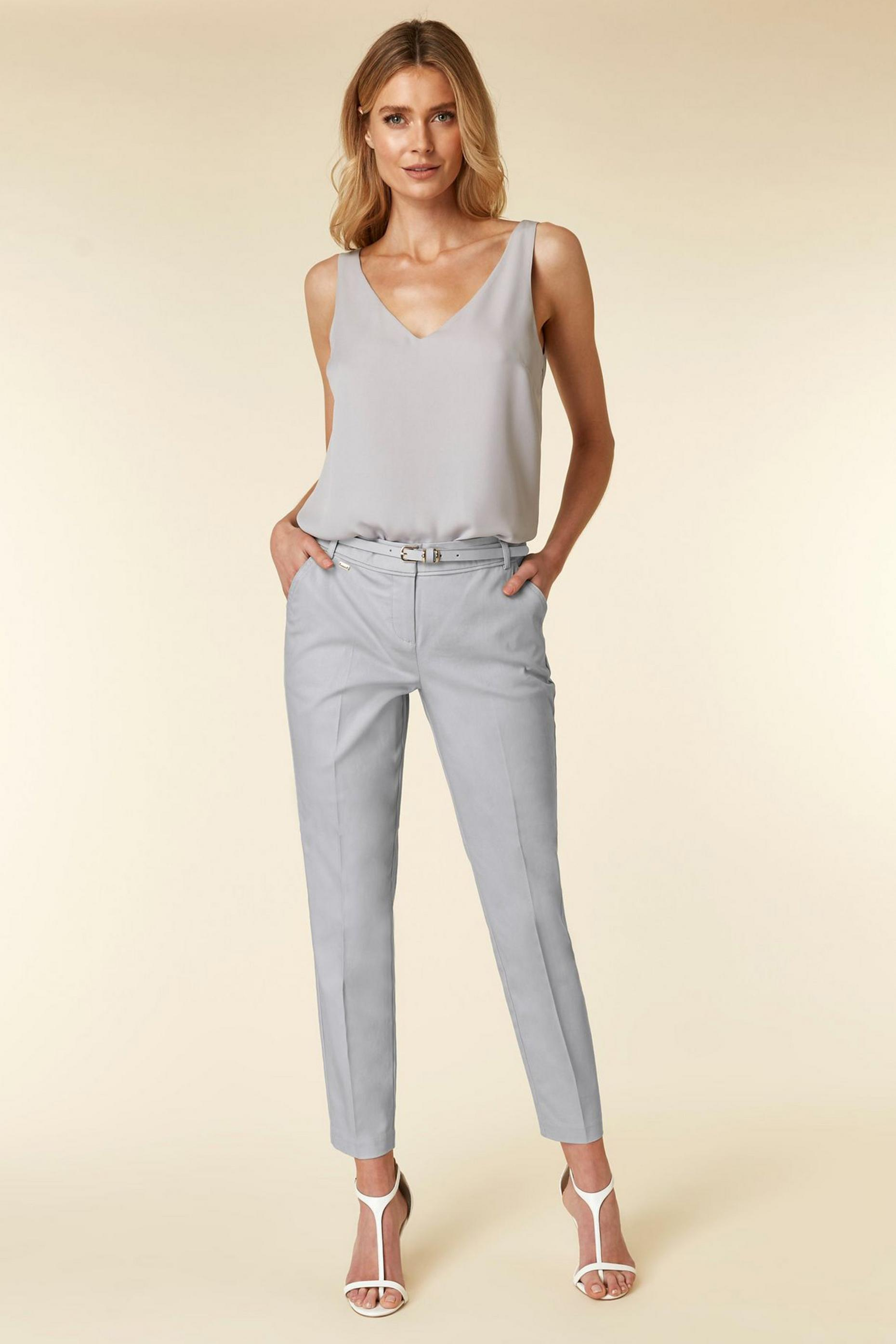 Grey Belted Cigarette Trousers