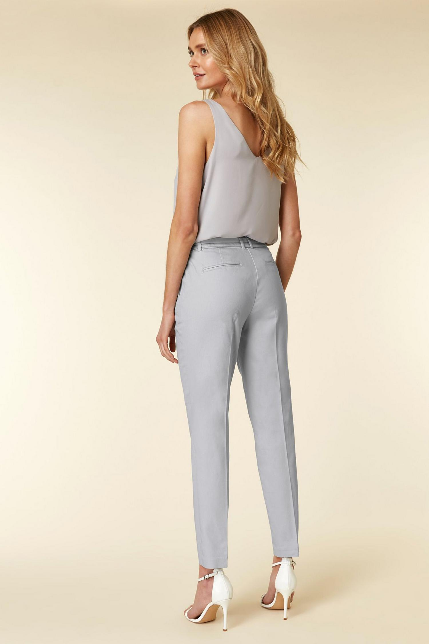 131 Grey Belted Cigarette Trousers image number 2