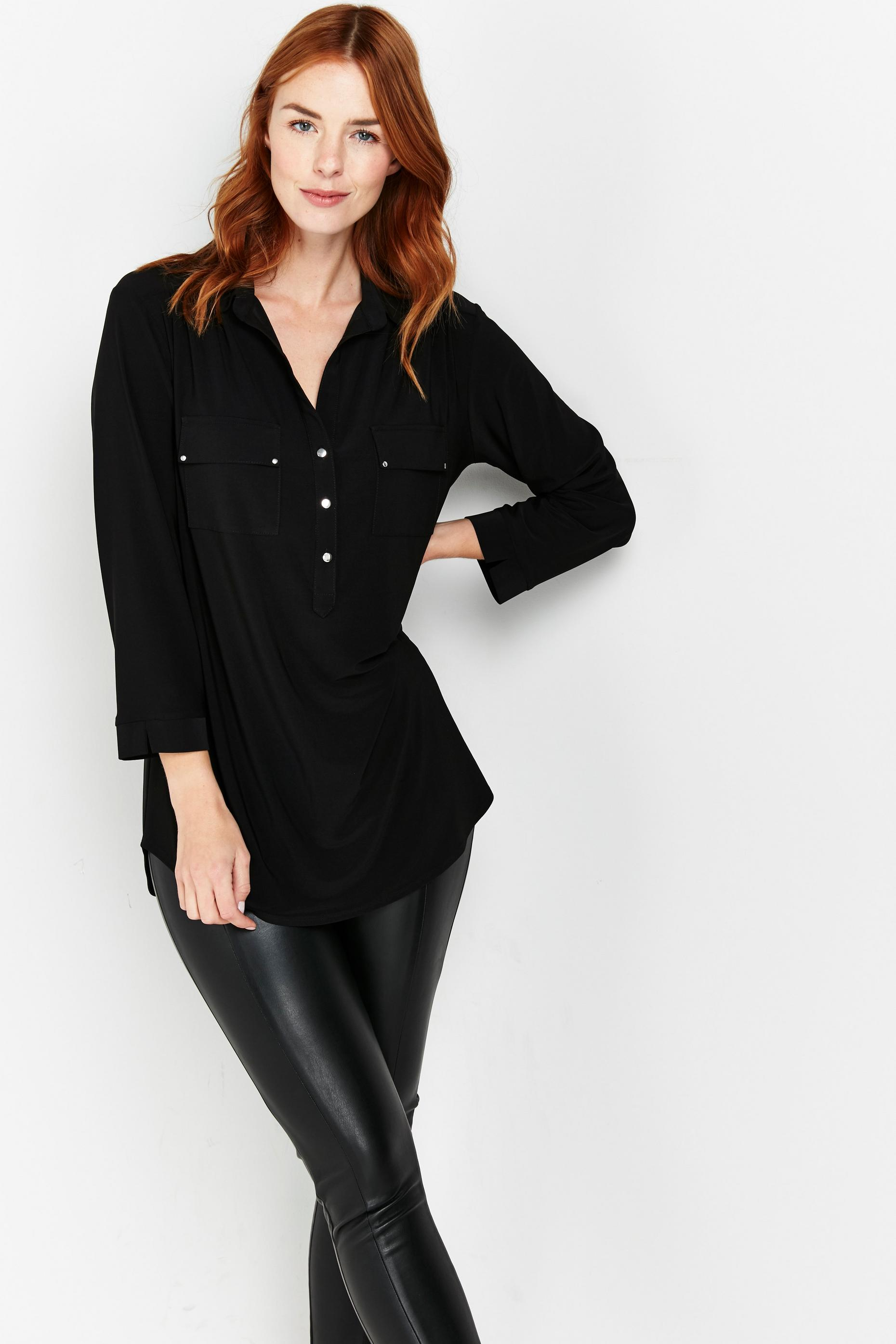 Black Button Detail Shirt