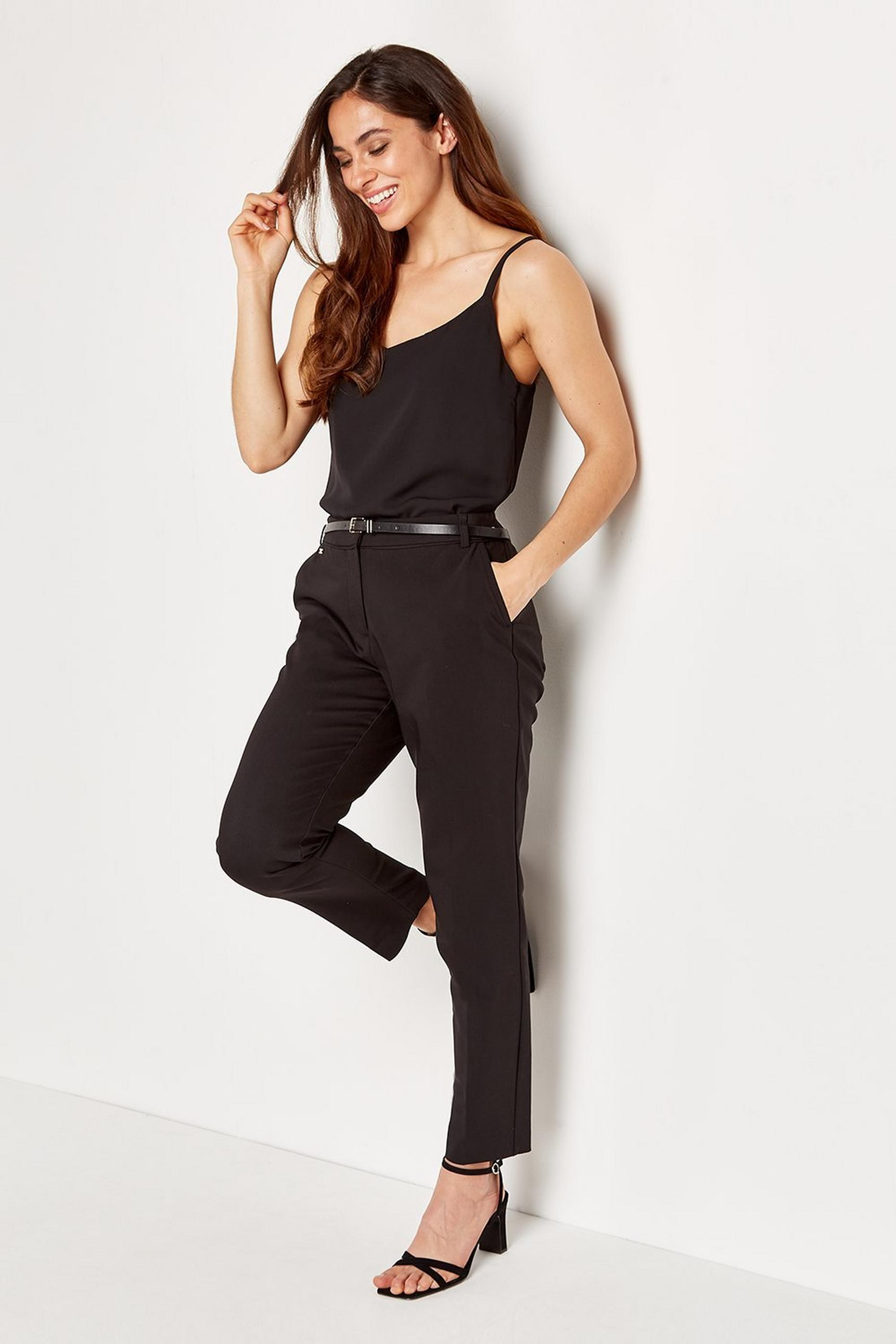 Black Belted Cigarette Trouser