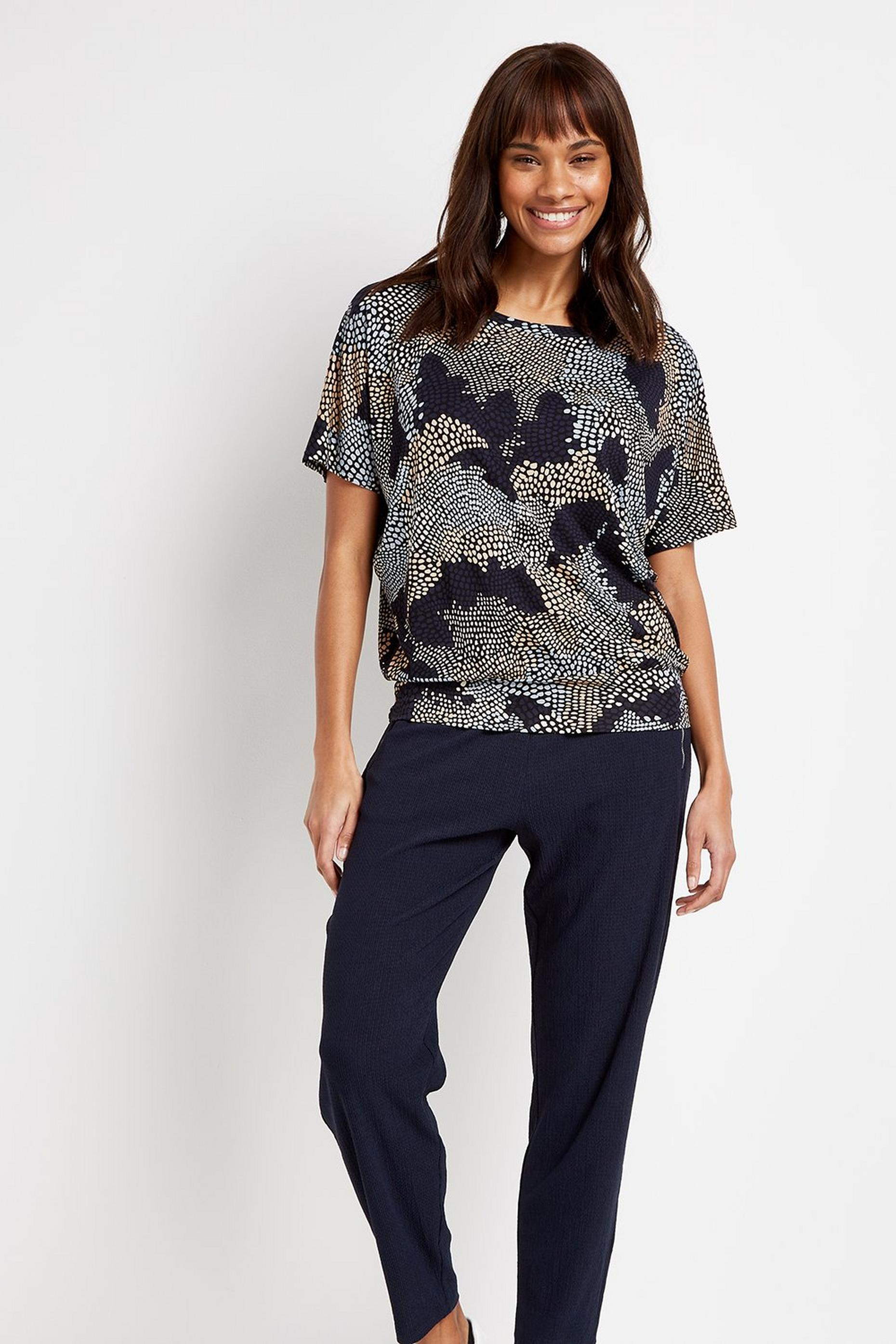 Navy Printed Batwing Top