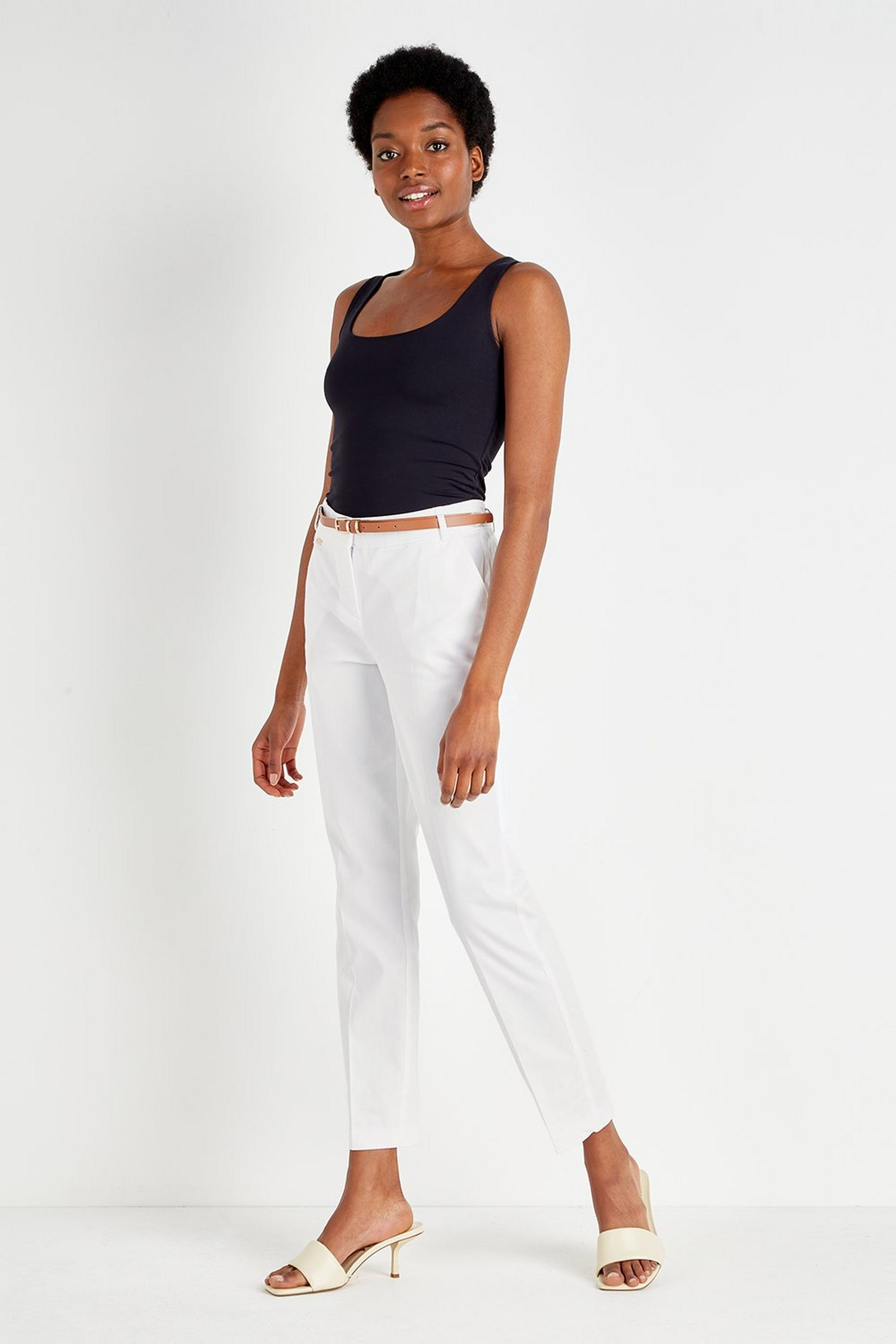 White Belted Cigarette Trouser