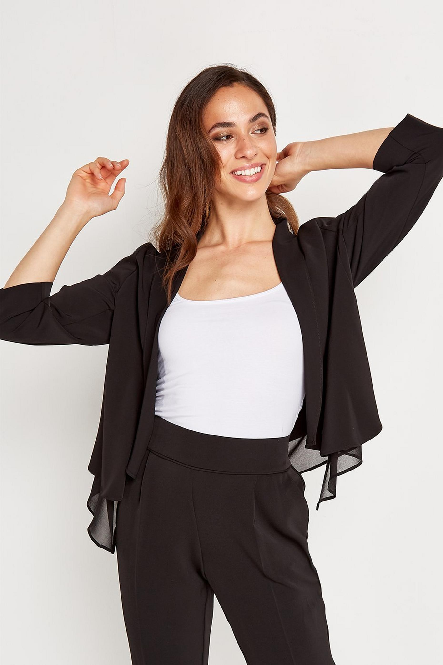 Black Chiffon Waterfall Jacket