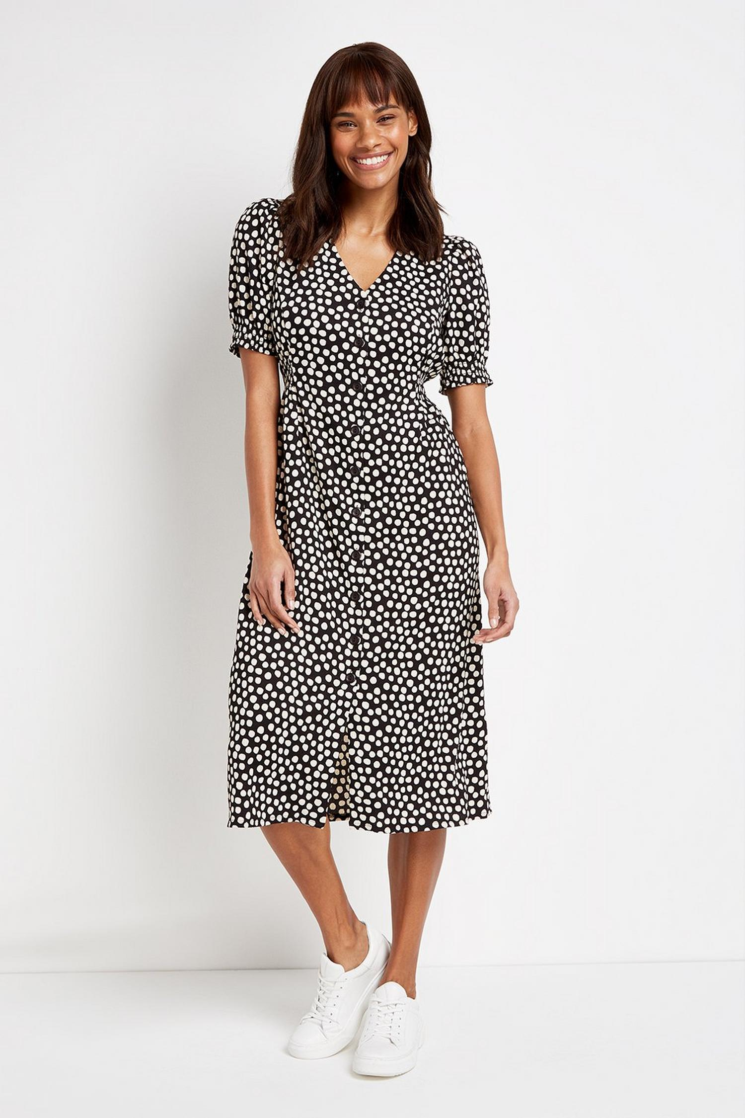 105 Black Polka Dot Midi Dress image number 1