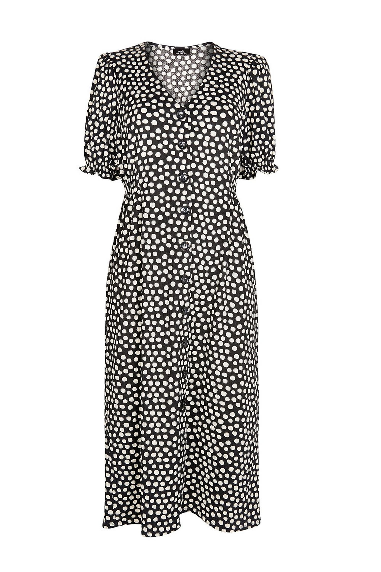 105 Black Polka Dot Midi Dress image number 2
