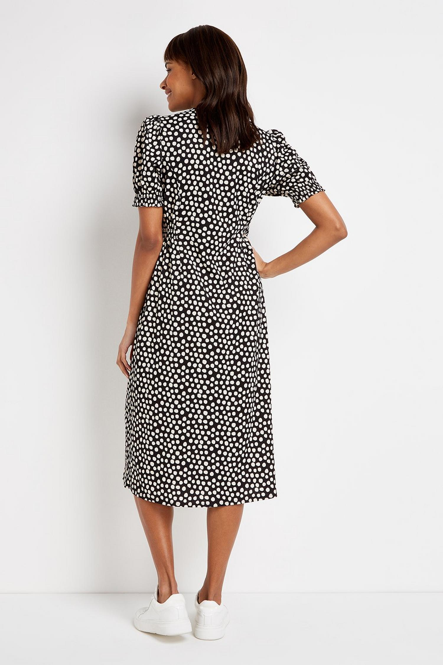 105 Black Polka Dot Midi Dress image number 3