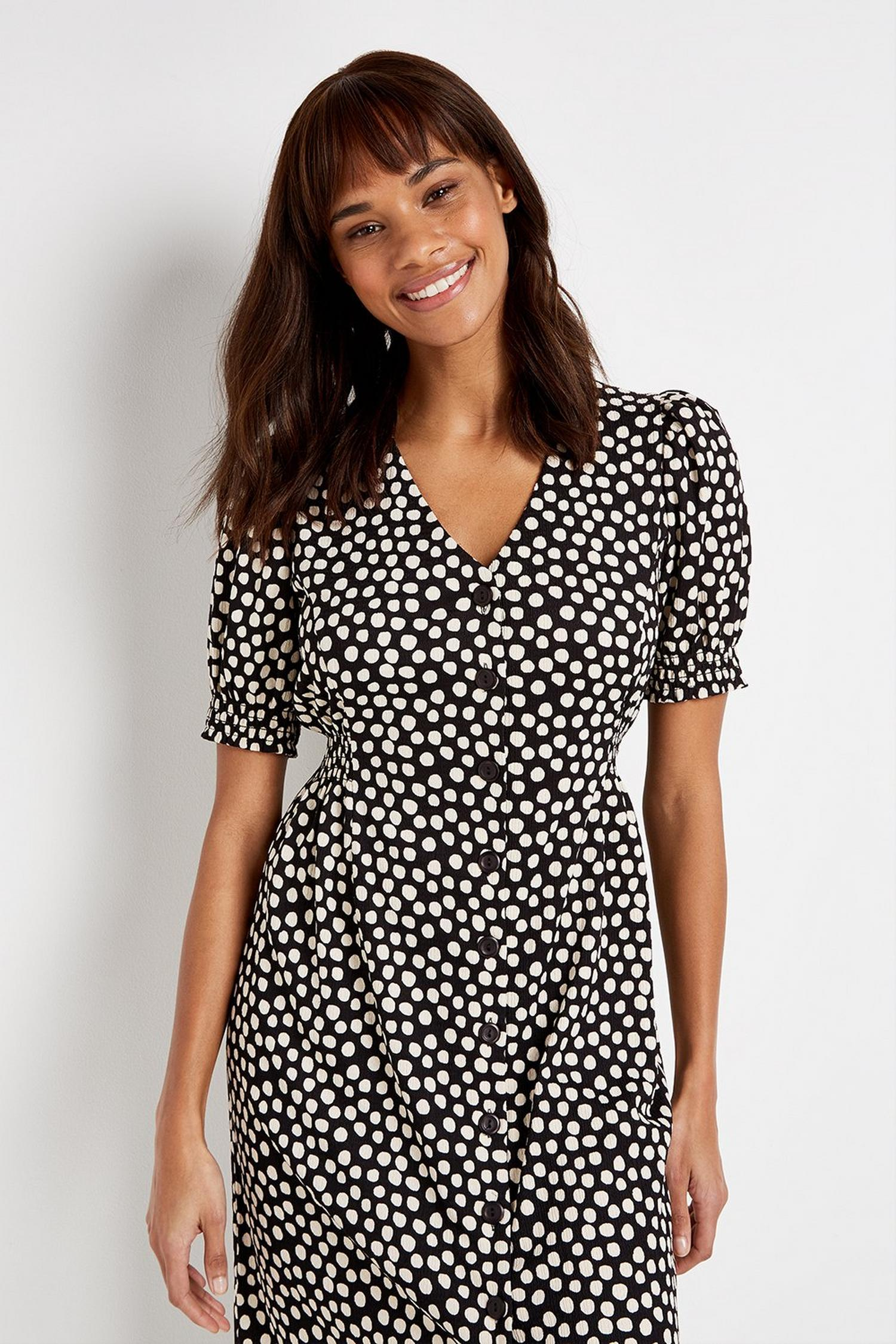 105 Black Polka Dot Midi Dress image number 4