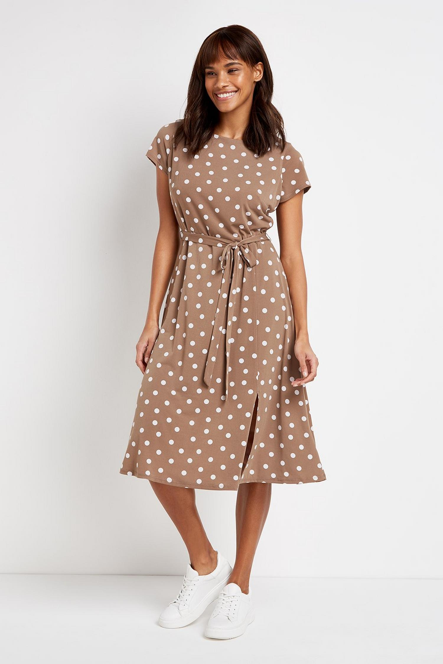 103 Taupe Polka Dot Dress image number 1