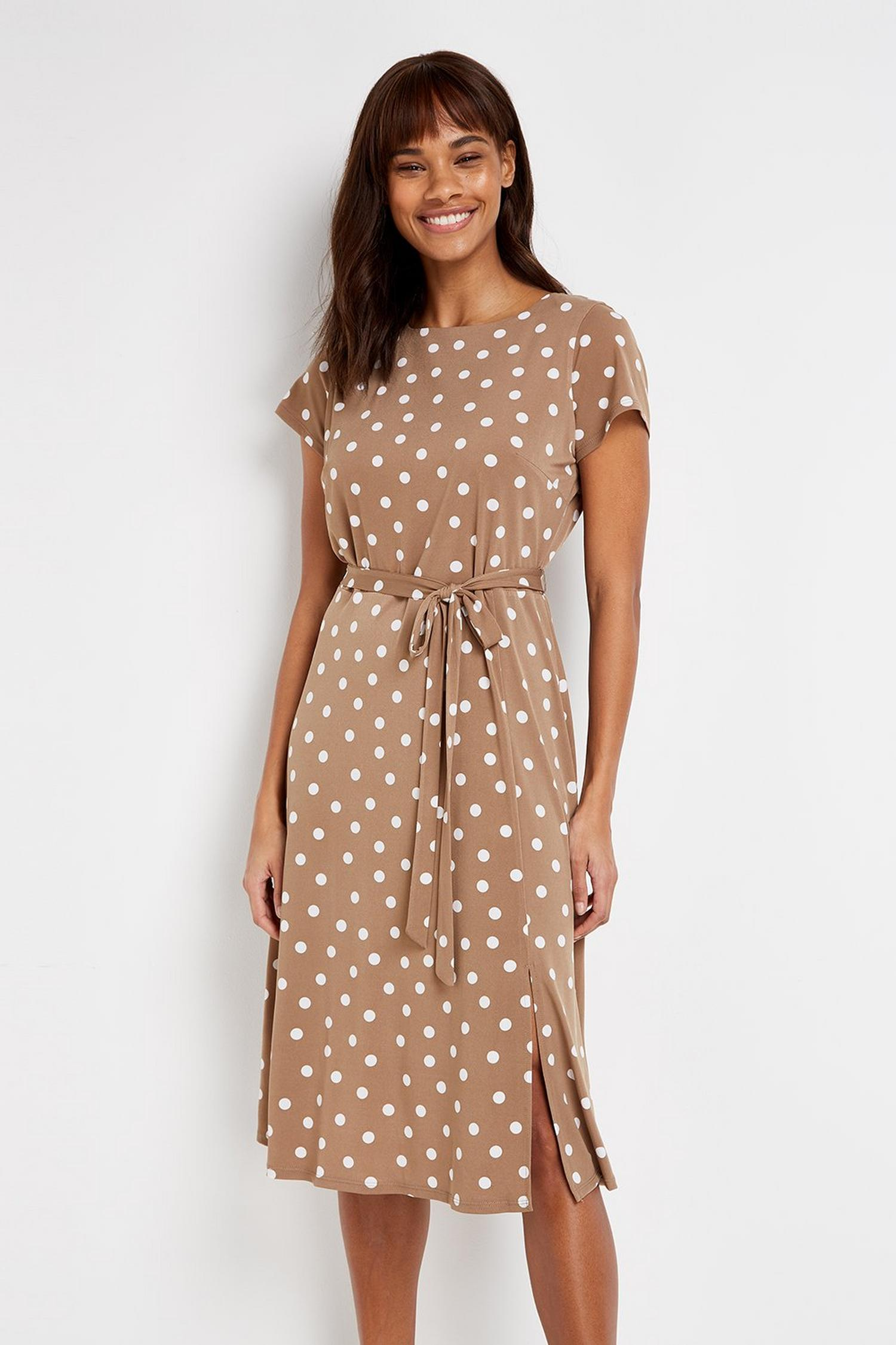 103 Taupe Polka Dot Dress image number 3
