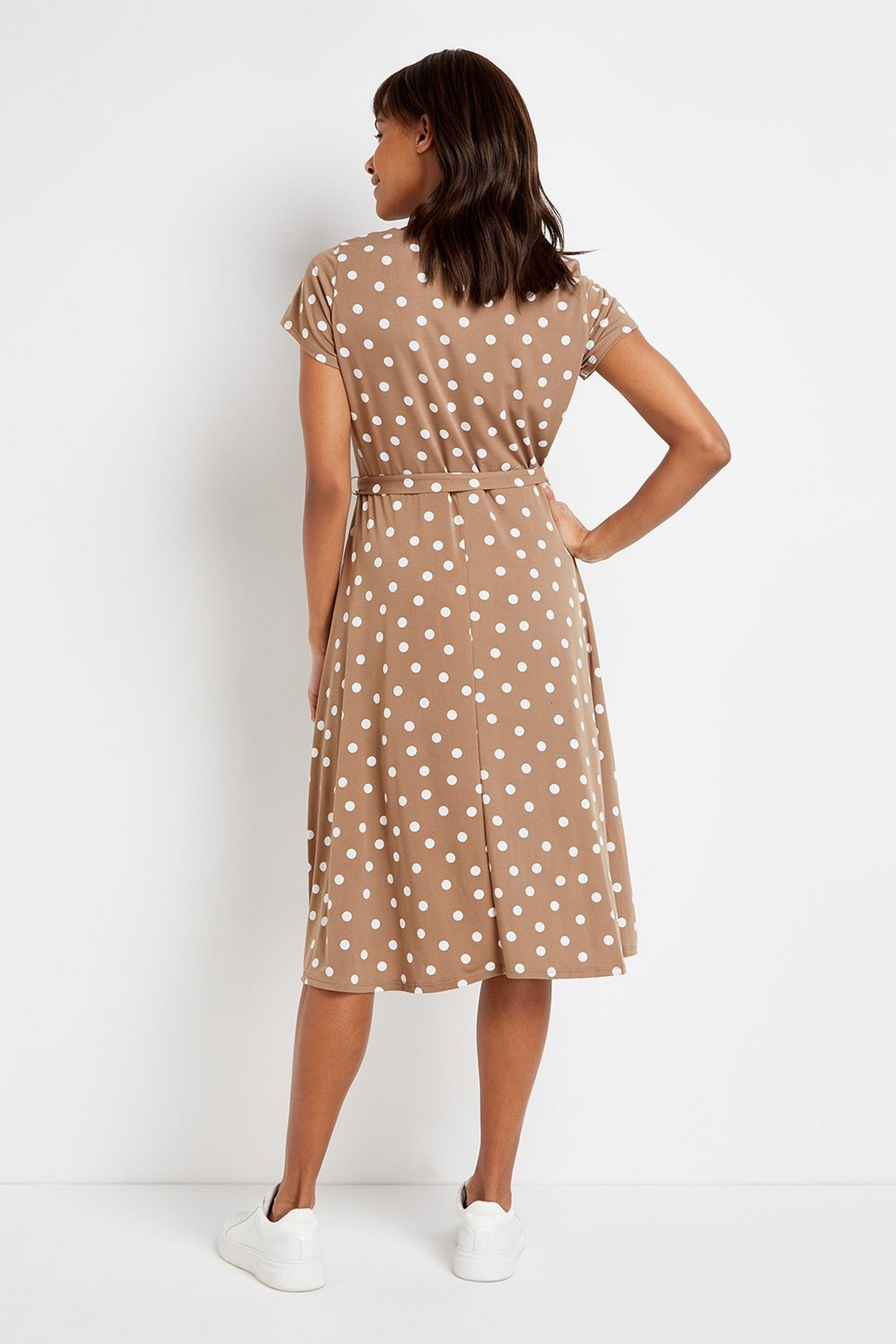 103 Taupe Polka Dot Dress image number 4