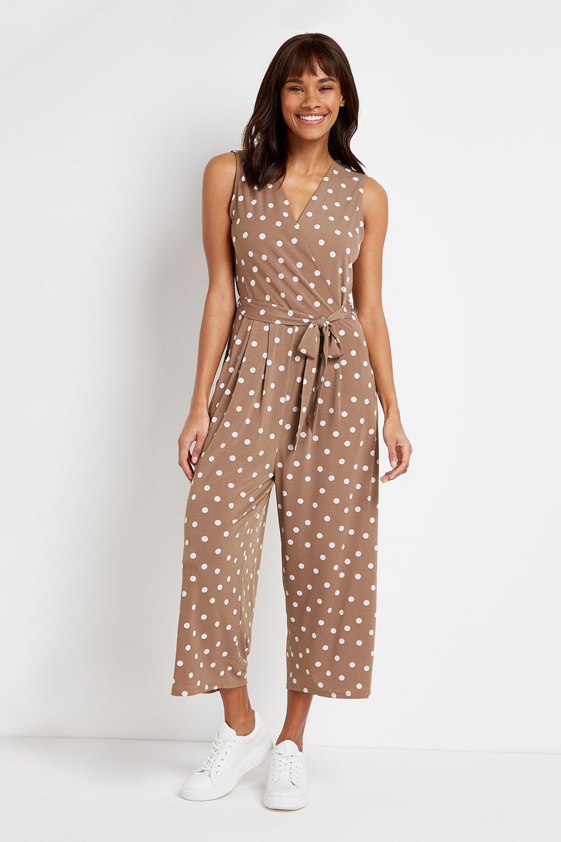 Taupe Polka Dot Wrap Jumpsuit