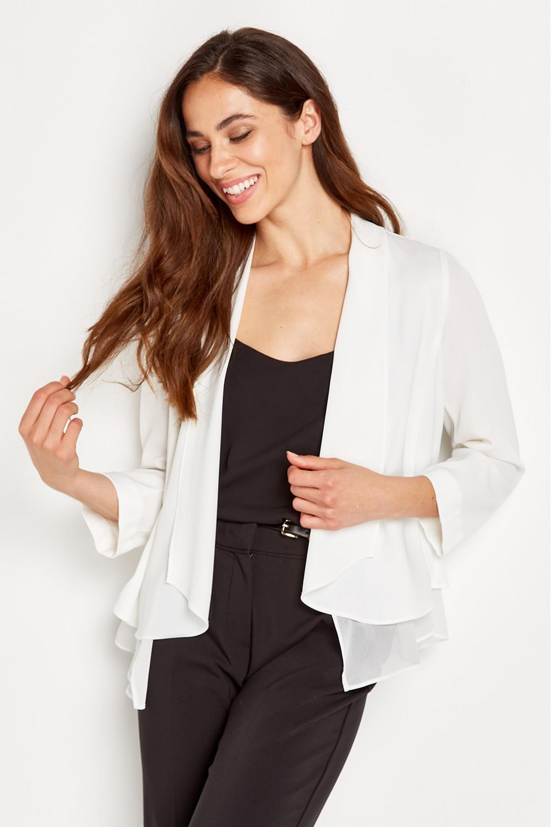 Ivory Chiffon Waterfall Jacket