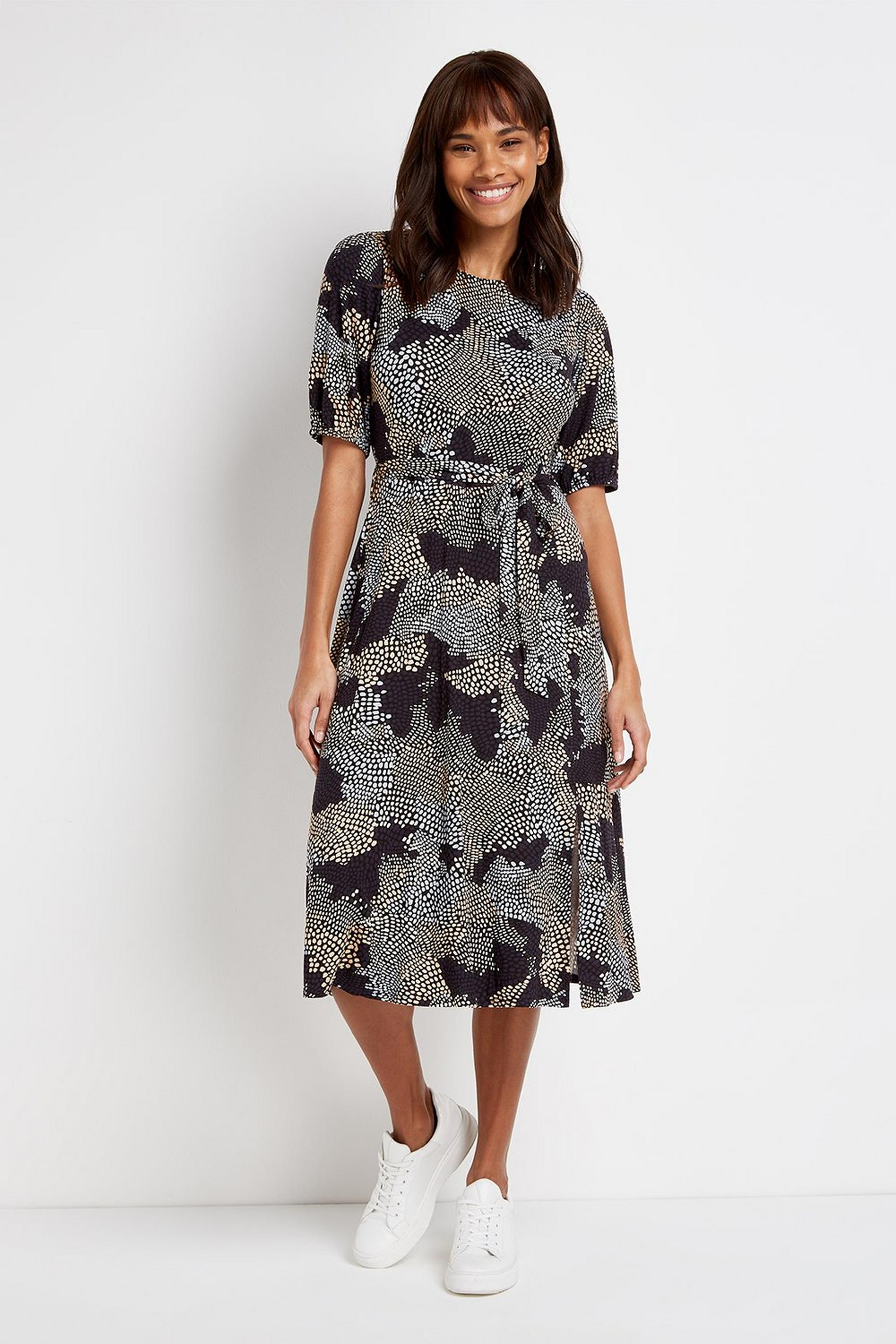Navy Jersey Printed Midi Dress