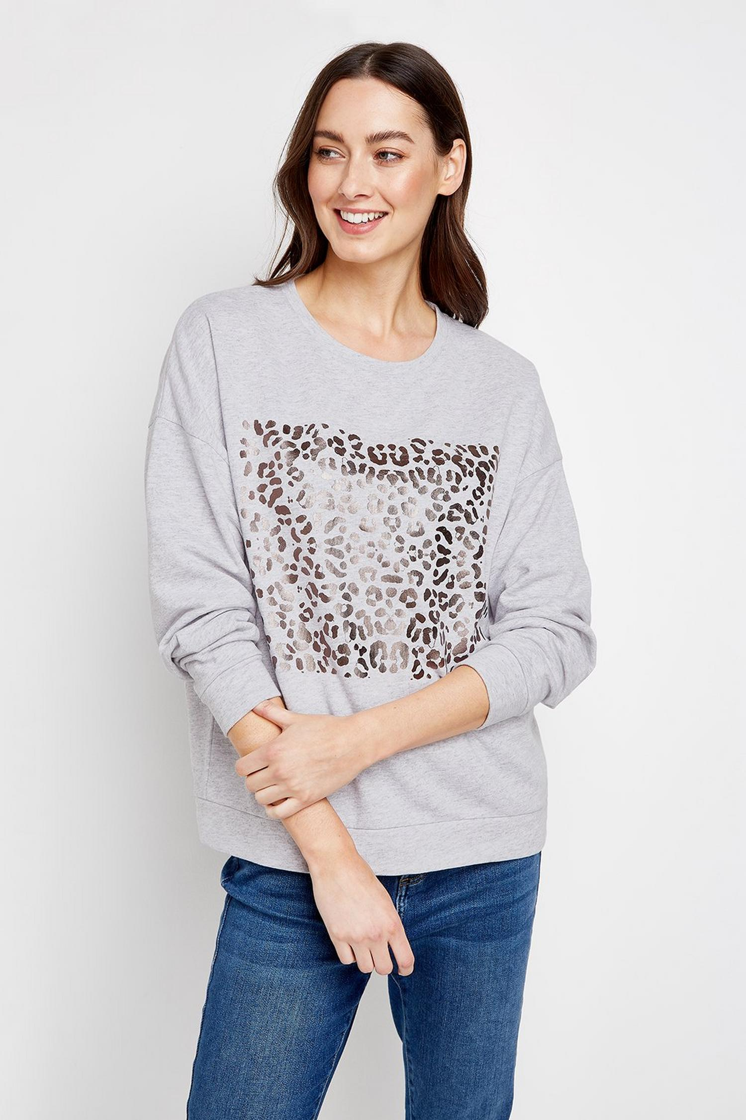 131 Grey Metallic Animal Print Jumper image number 1