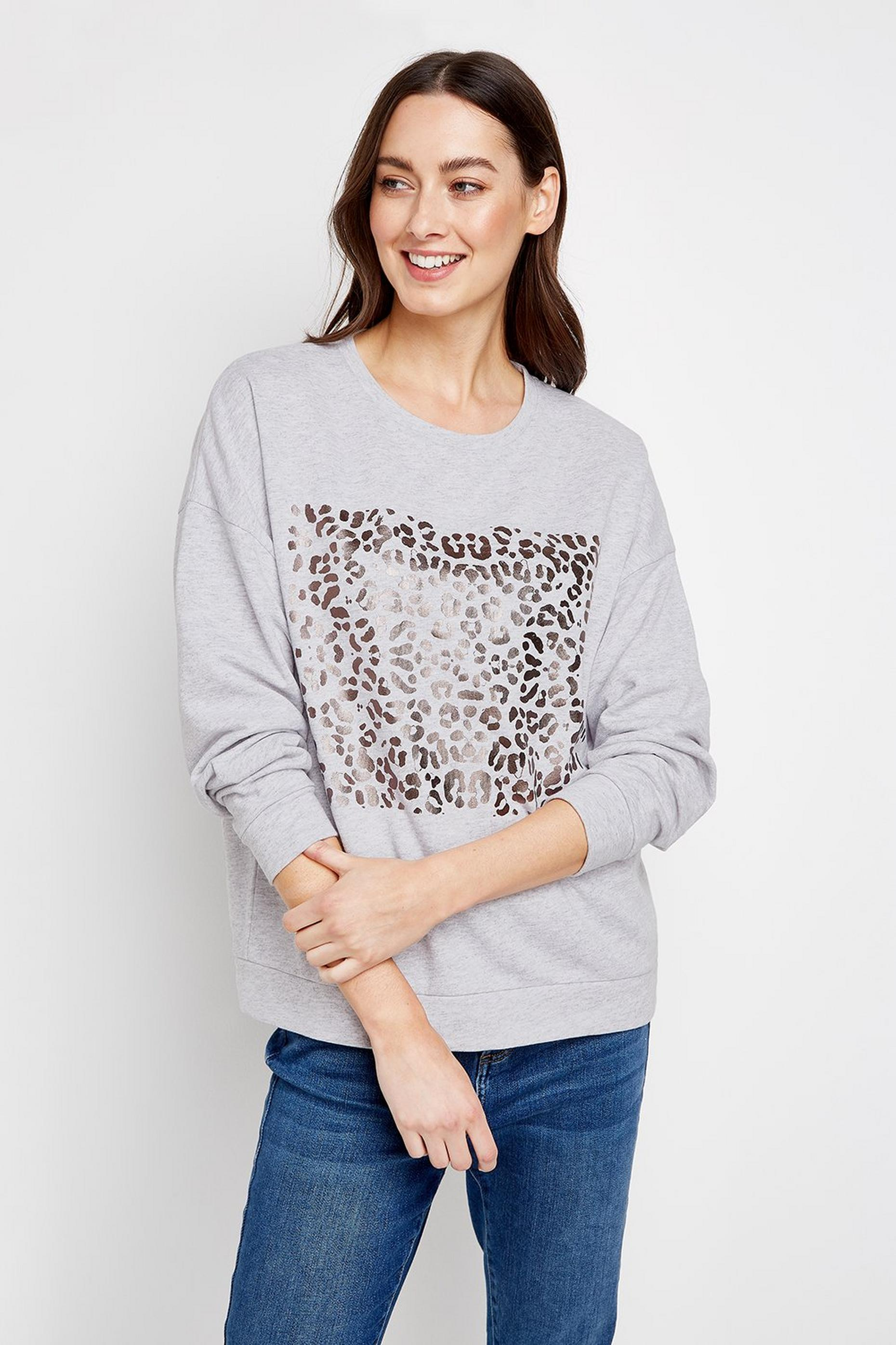 Grey Metallic Animal Print Jumper