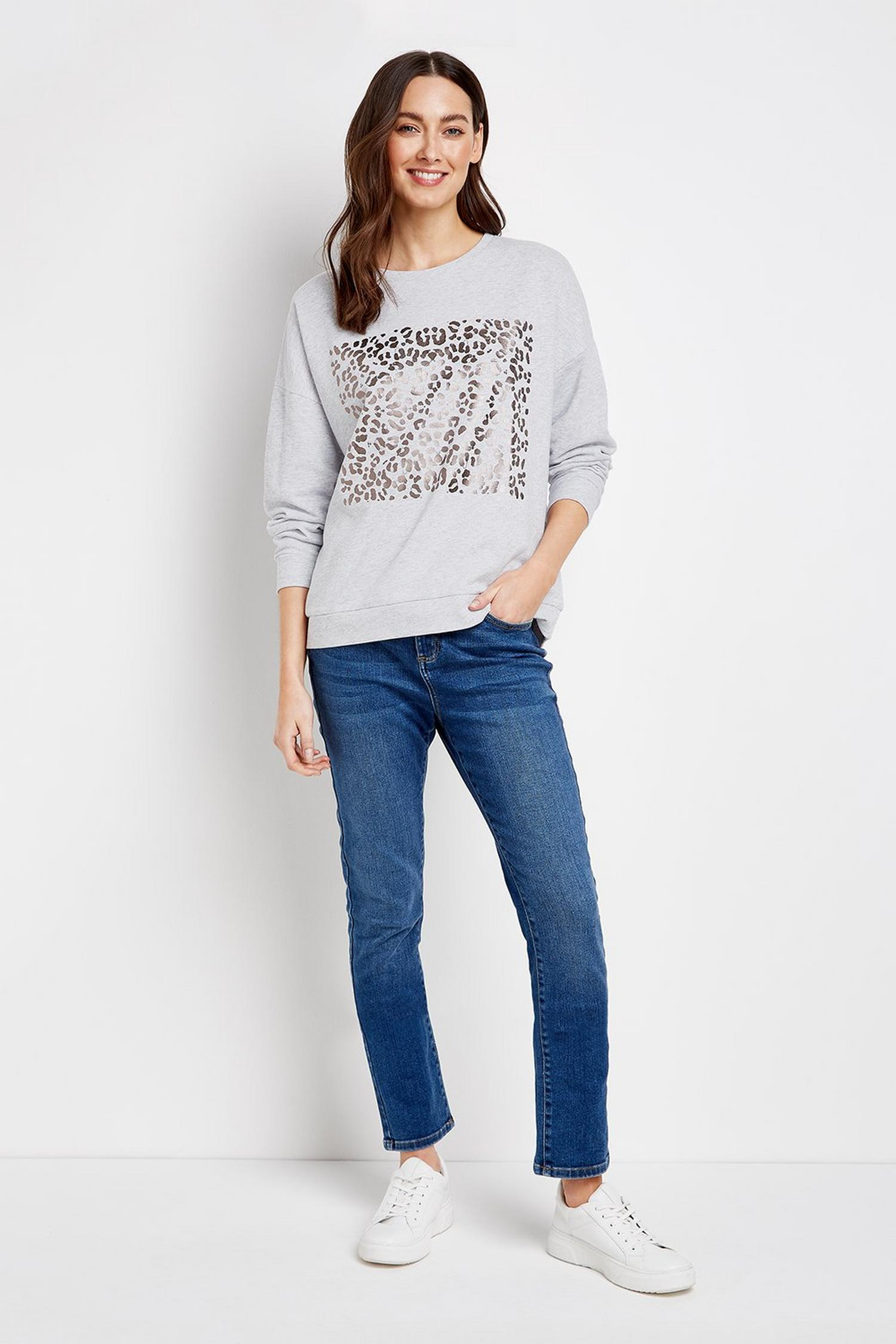 131 Grey Metallic Animal Print Jumper image number 2