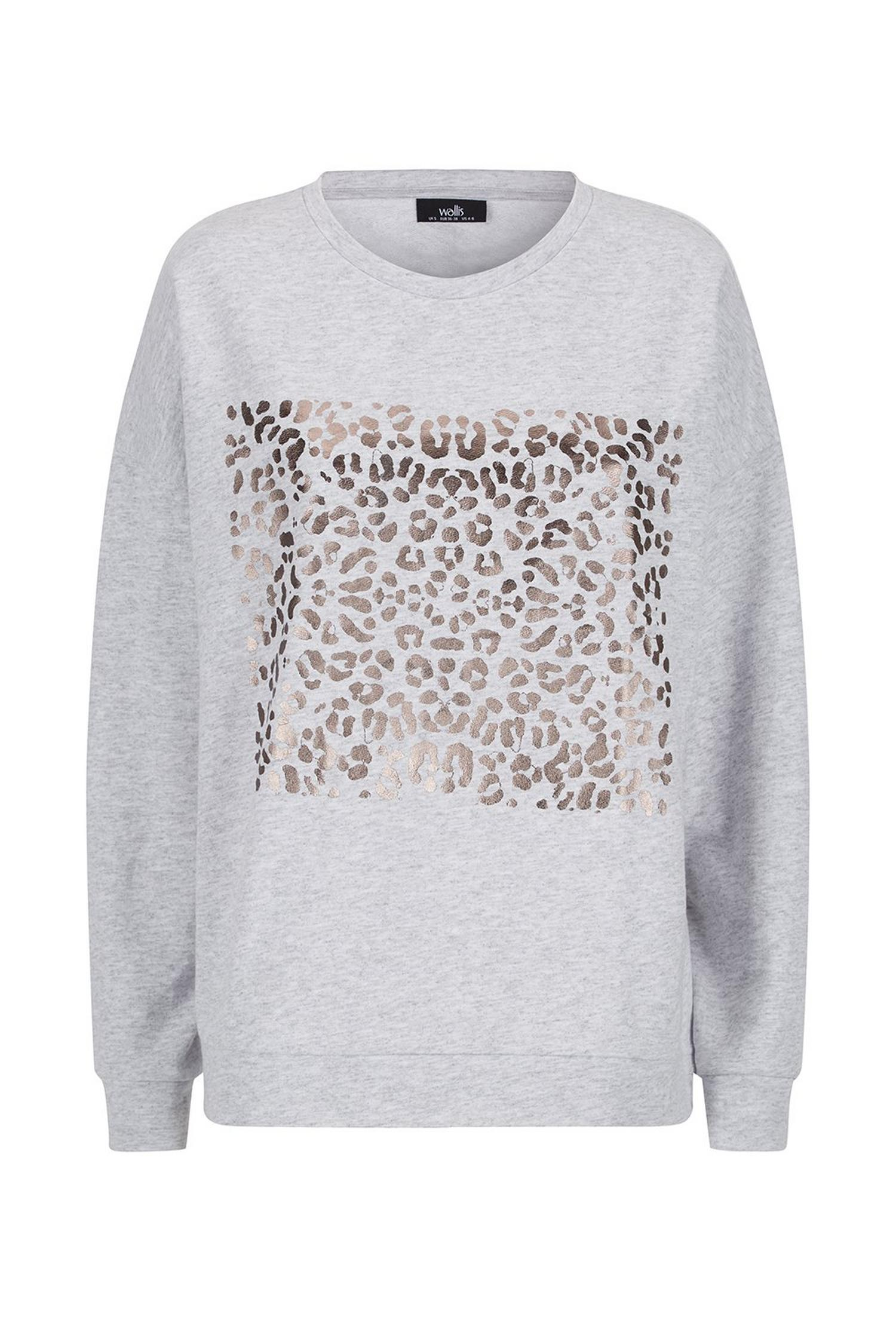 131 Grey Metallic Animal Print Jumper image number 3