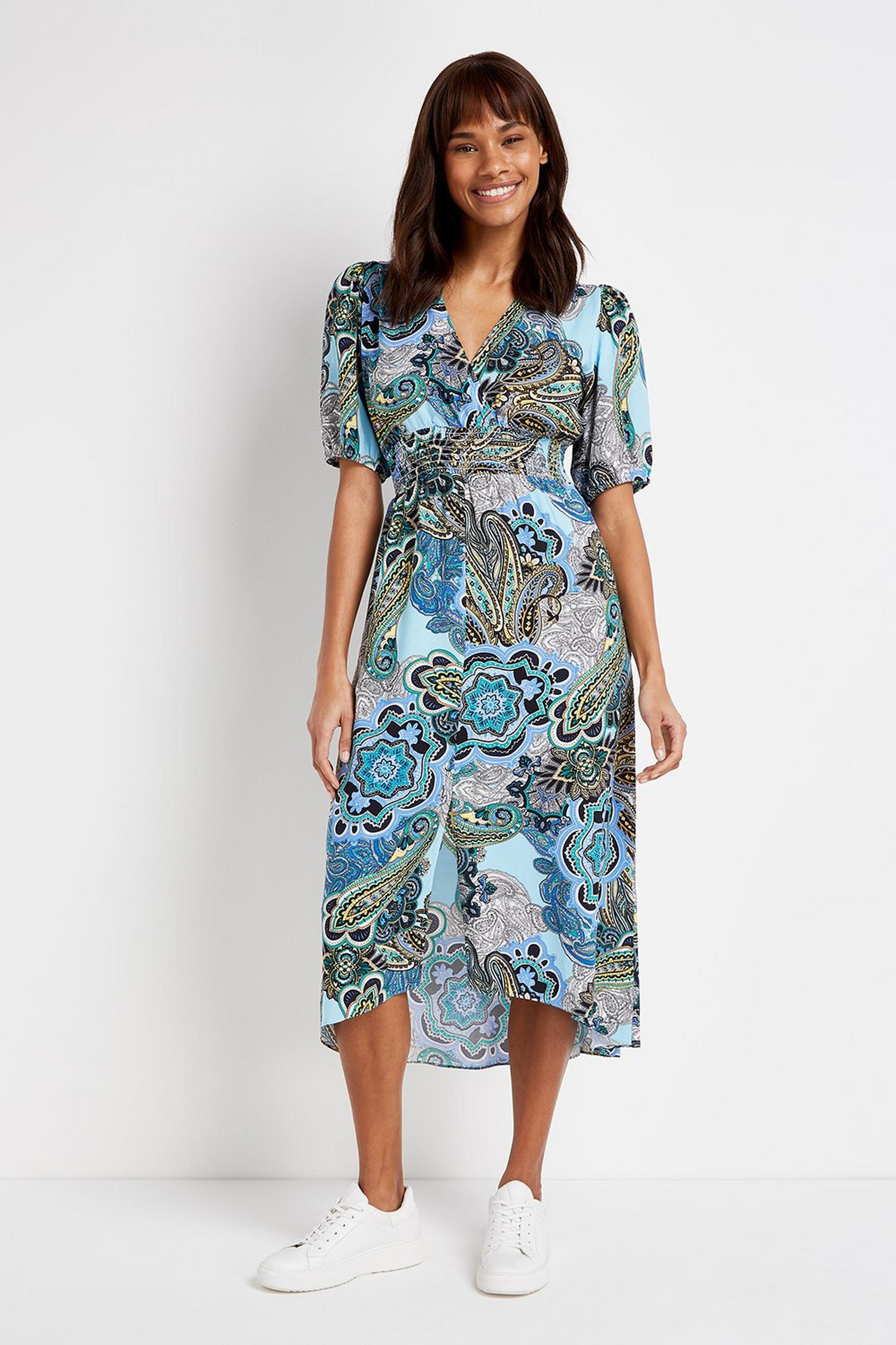 Blue Paisley Print Midi Dress