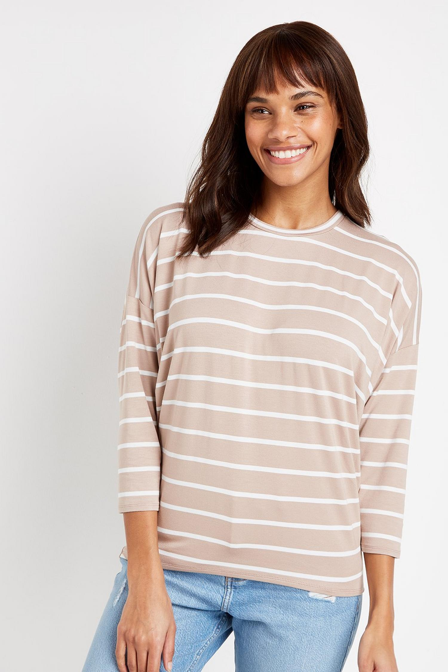 103 Taupe Striped Batwing Top image number 1
