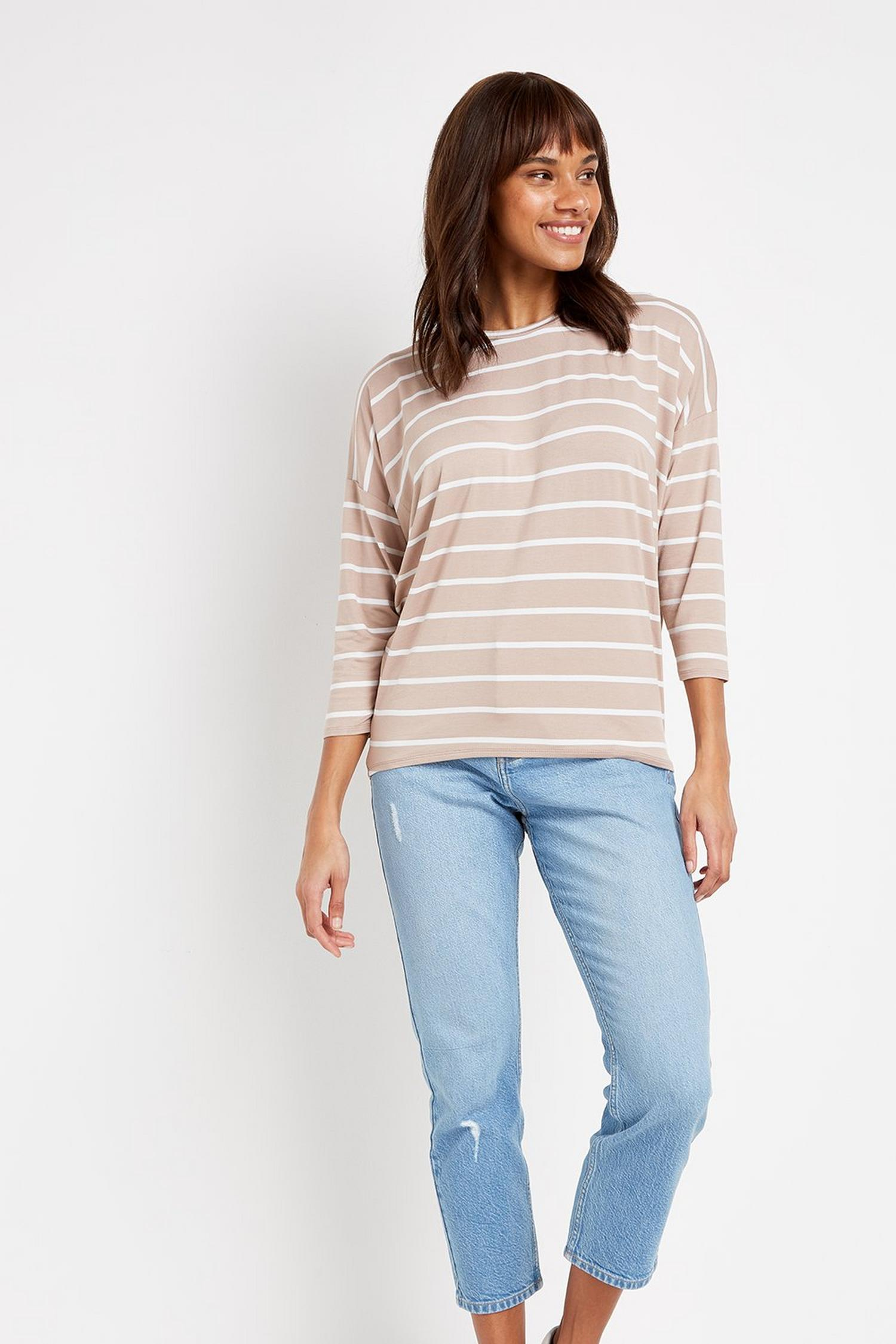103 Taupe Striped Batwing Top image number 2
