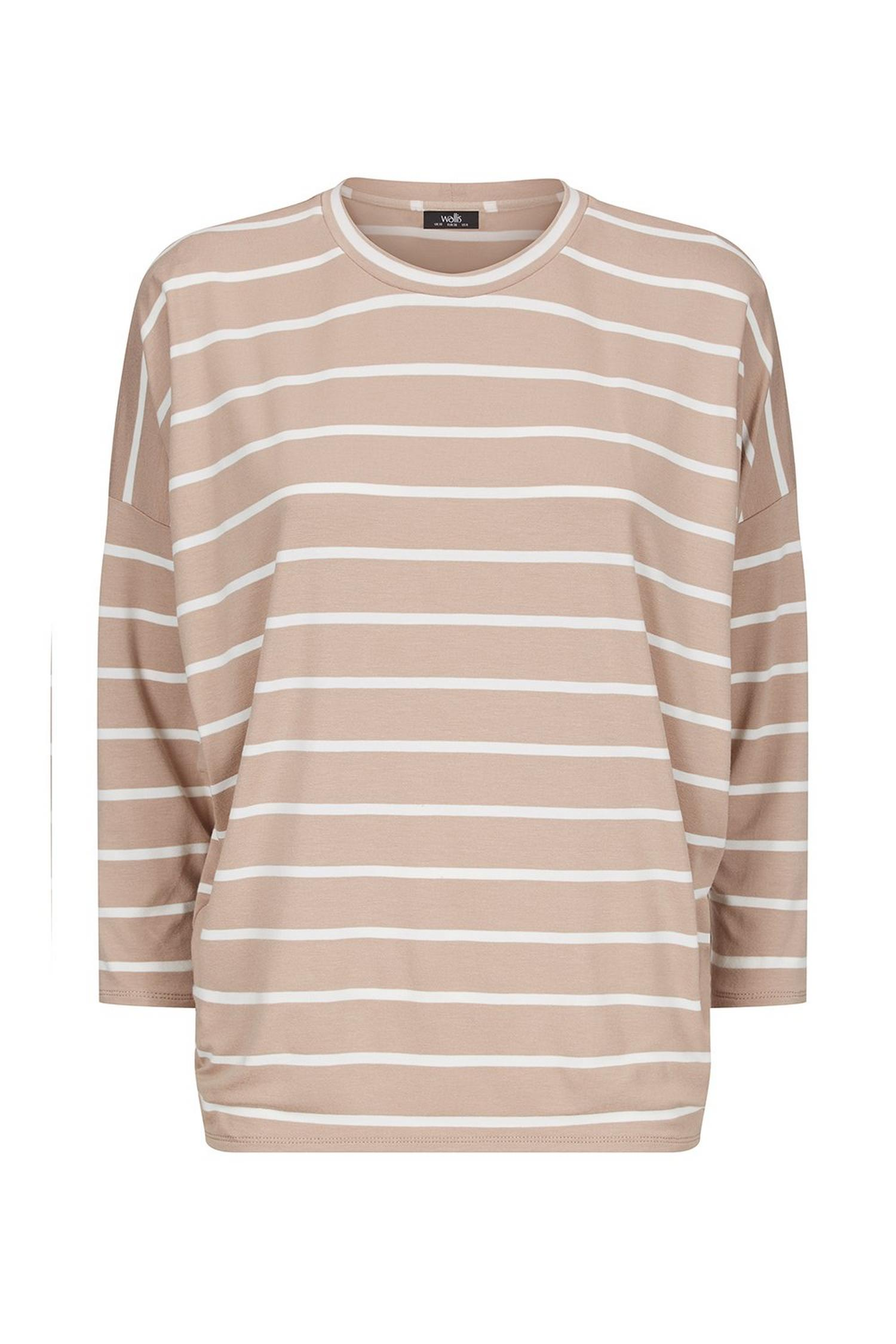 103 Taupe Striped Batwing Top image number 3