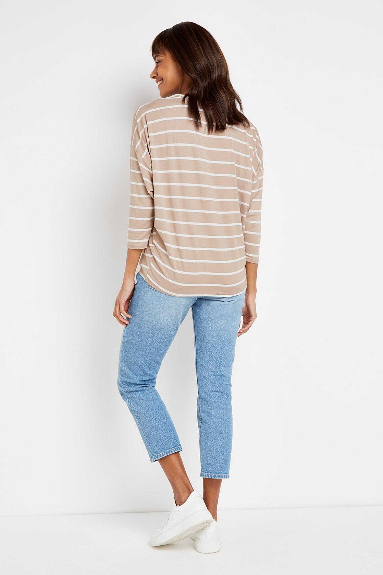 103 Taupe Striped Batwing Top image number 4