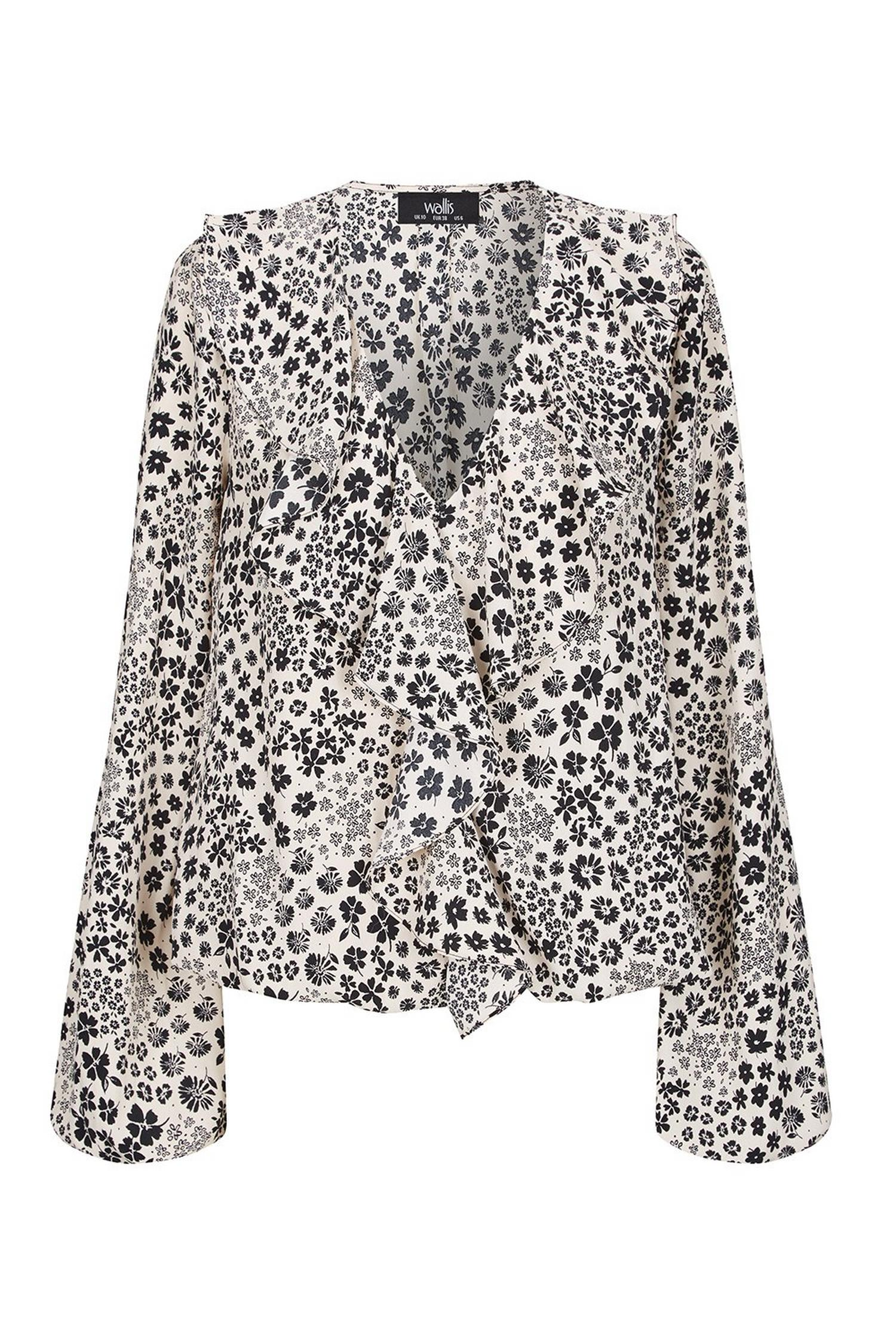 585 Monochrome Floral Print Frill Blouse image number 2