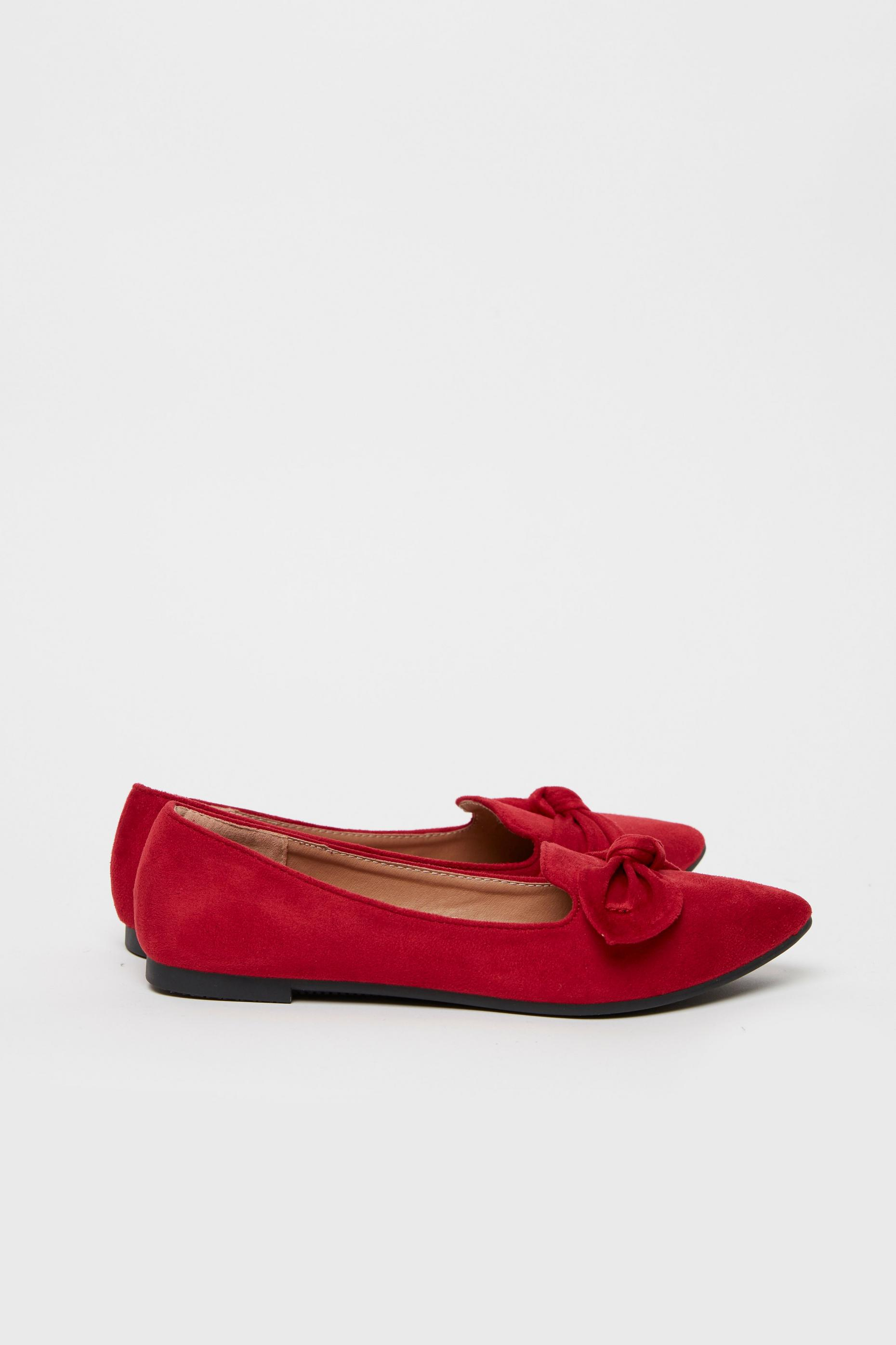 Red Bow Detail Ballet Pump