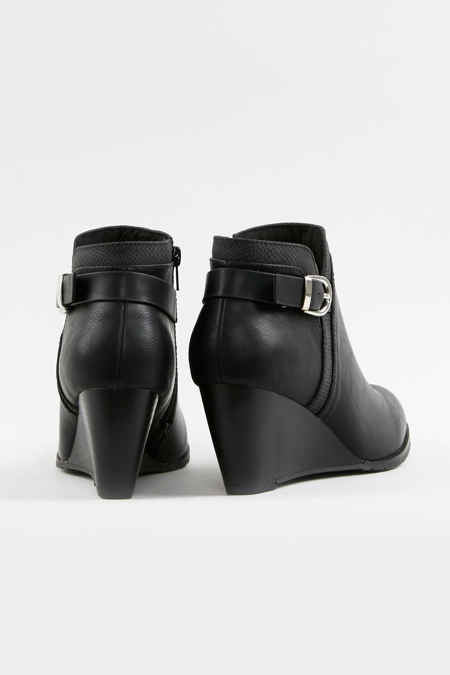 105 Wide Fit Black Buckle Wedge Boot image number 2
