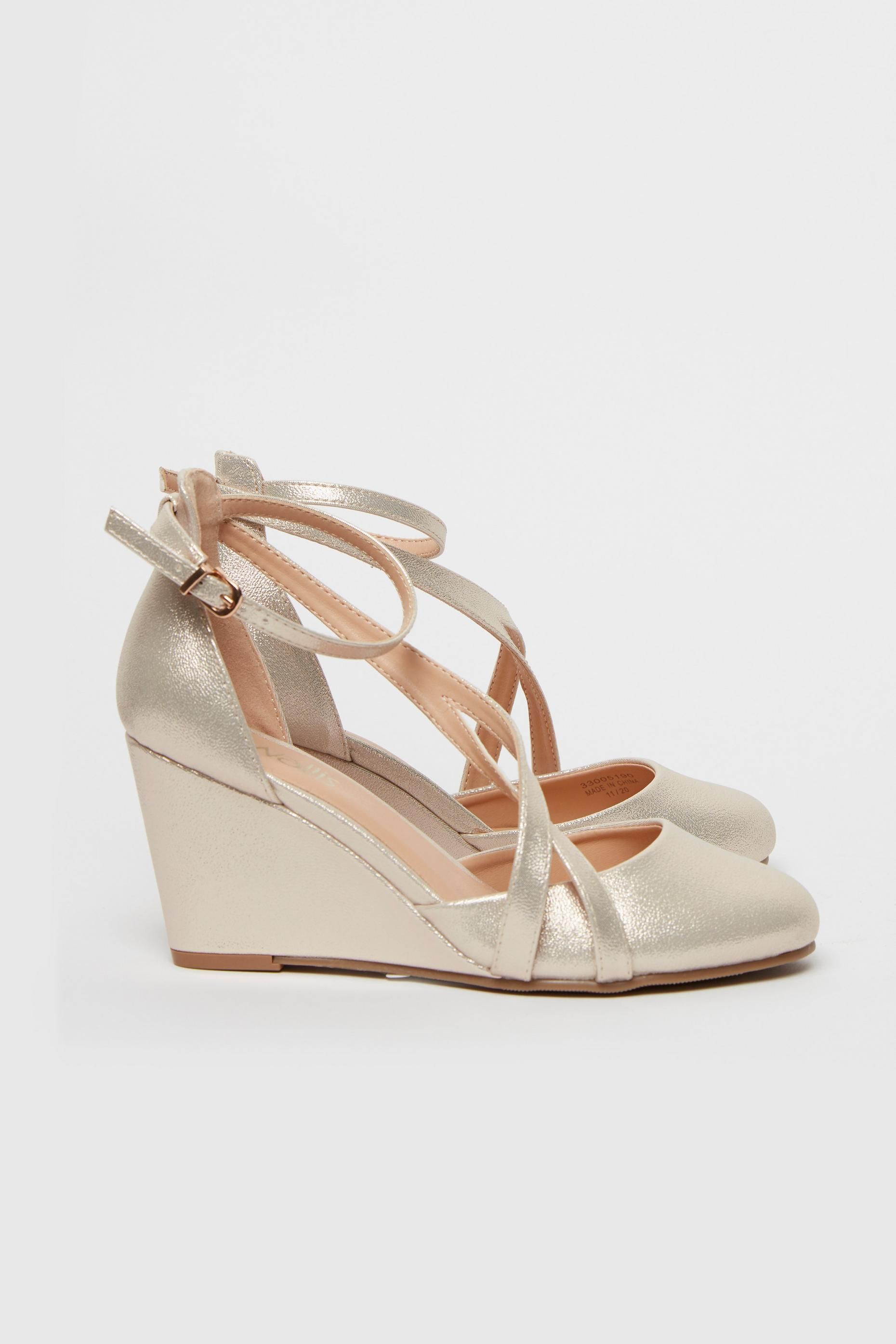Gold Double Strap Wedge