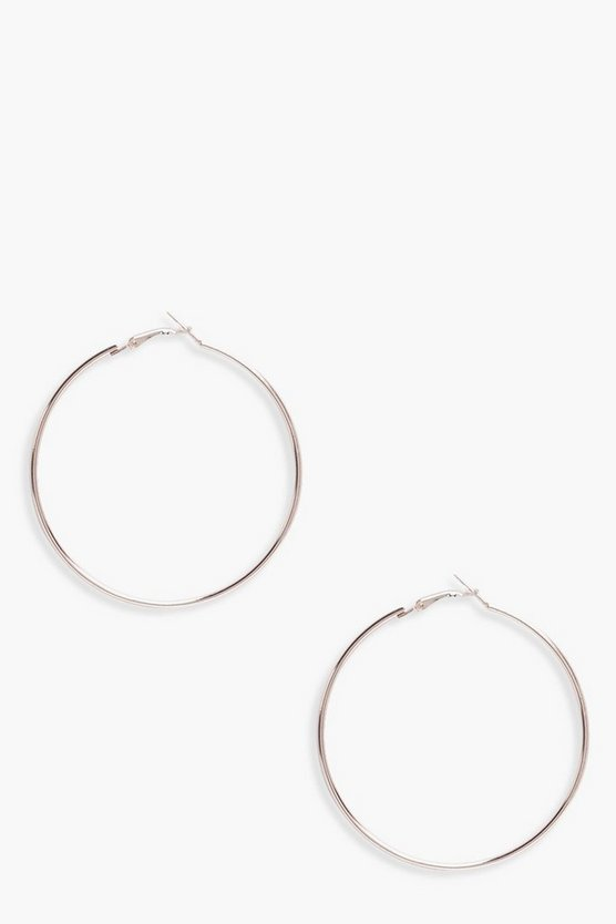 Womens Rose gold Plain 6.5cm Hoop Earrings