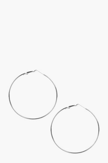 Womens Silver Plain 6.5cm Hoop Earrings