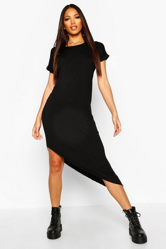 Womens Black Asymmetric T-Shirt Midi Dress