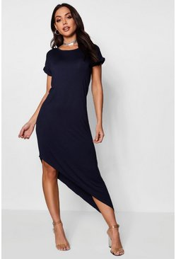 Womens Navy Asymmetric T-Shirt Midi Dress