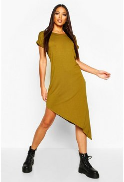 Womens Olive Asymmetric T-Shirt Midi Dress