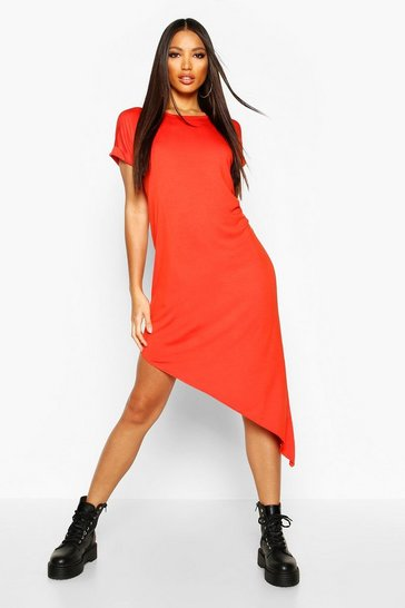 Womens Rust Asymmetric T-Shirt Midi Dress