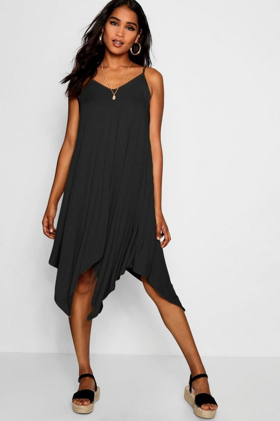 Womens Black Asymmetric Hem Strappy Swing Dress