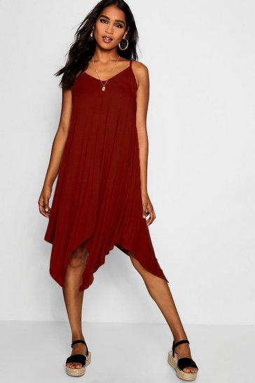 Womens Brown Asymmetric Hem Strappy Swing Dress