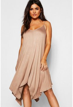 Camel Asymmetric Hem Strappy Swing Dress