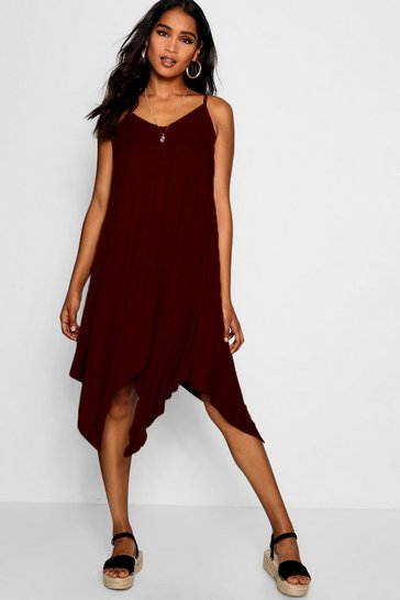 Womens Chocolate Asymmetric Hem Strappy Swing Dress