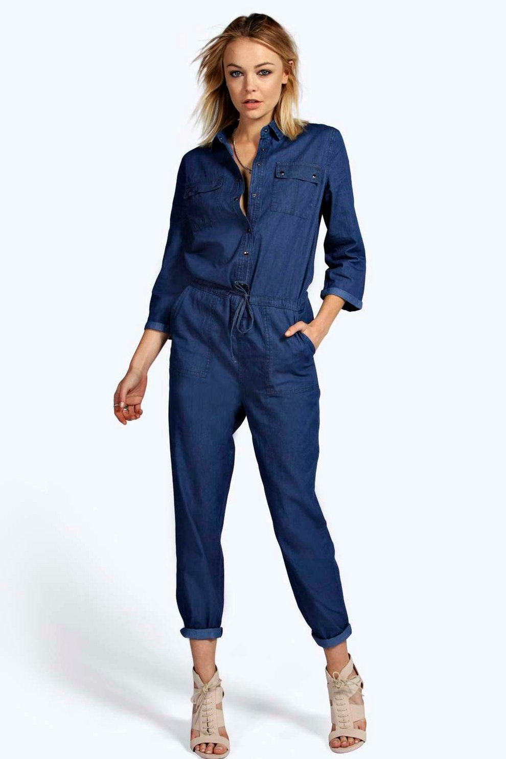 Stacy Denim Boiler Suit Boohoo