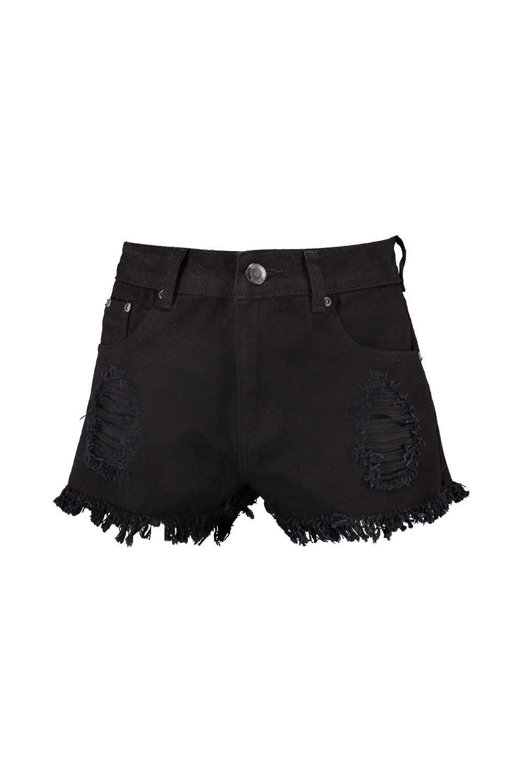 denim deshilachados negros Minishorts con negro cintura alta 801TqTn