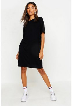 Womens Black Turn Back Cuff T-Shirt Dress
