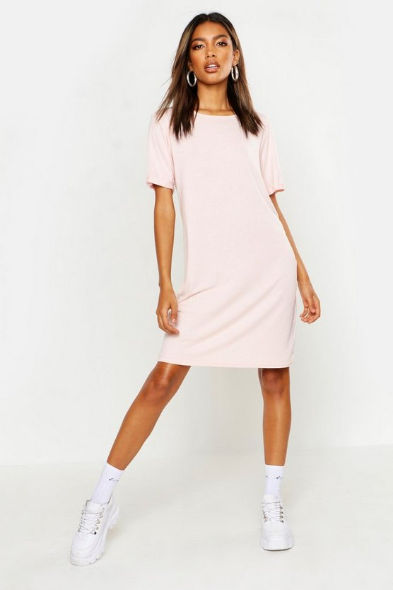 Womens Blush Turn Back Cuff T-Shirt Dress
