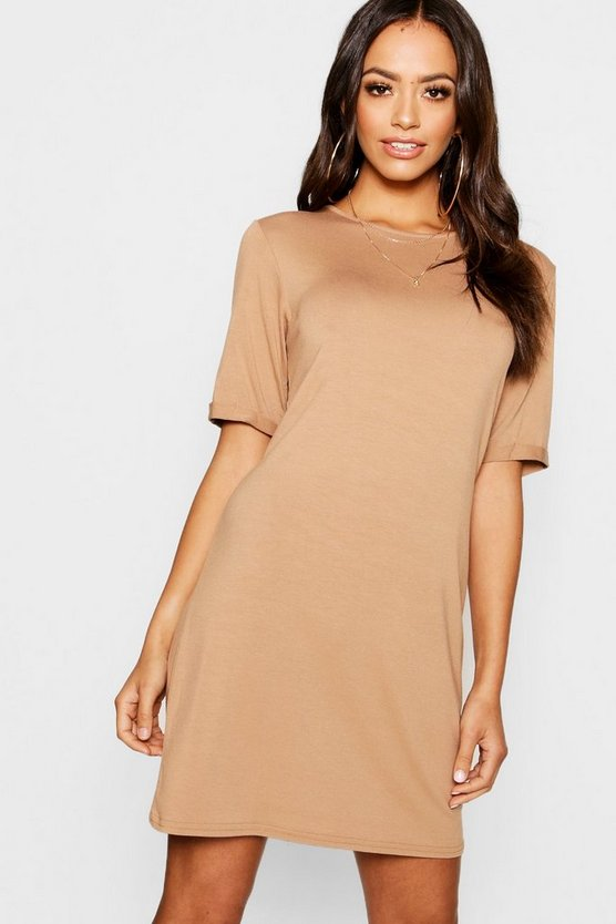 Womens Camel Turn Back Cuff T-Shirt Dress