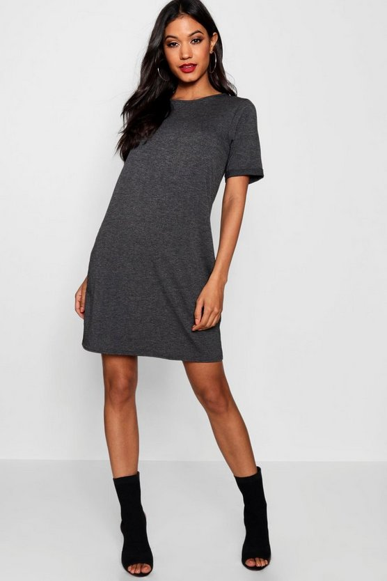 Womens Charcoal Turn Back Cuff T-Shirt Dress